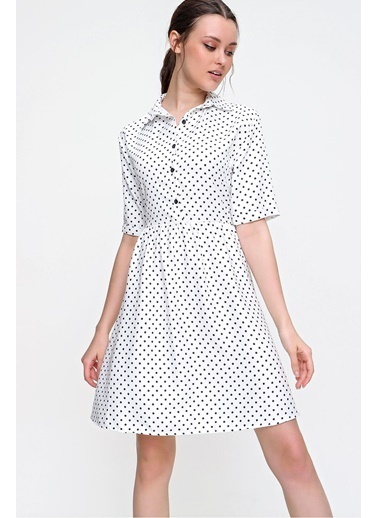 Pink Park Gömlek Yaka Puantiye Desenli Dokuma Viskon Elbise RD00018 Beyaz